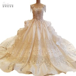 100% Real Photo Luxury Royal Wedding Dress Beaded Cap Sleeve Zip Up Back Ball Gown 1M 2M Train Bride Dresses Robe