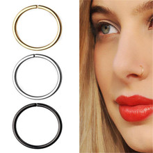 1pc Medical Titanium Steel Simple Hoop Nose Rings Piercing Tragus Fake Septum Ring Daith Helix Piercing Orbital Body Jewelry boako 1pc nose hoop nostril ring flower helix cartilage tragus nose jewelry zircon earring rings body jewelry fake piercing b40