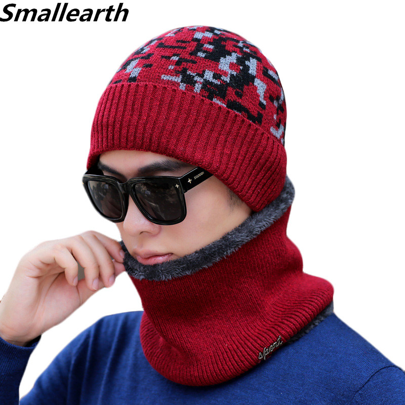 New Winter Knitted Hat Scarf Set Men Plus Velvet Warm Riding Thickened Cold Wool Cap Scarves Male Winter Outdoor Hats 2 Pieces