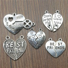 8pcs Best Friends Heart Puzzle Pieces Antique Silver Color Puzzle Pieces Charms Pendants For Bracelets Charms Charms cheap IFOCUS Zinc Alloy Hearts Fashion Metal Vintage