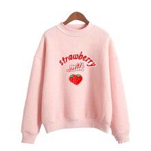 Harajuku Kawaii Strawberry Hoodie Sweatshirt Women 2020 Korean Fashion  Sweatshirts sweet cute Schoolgirl Streetwear