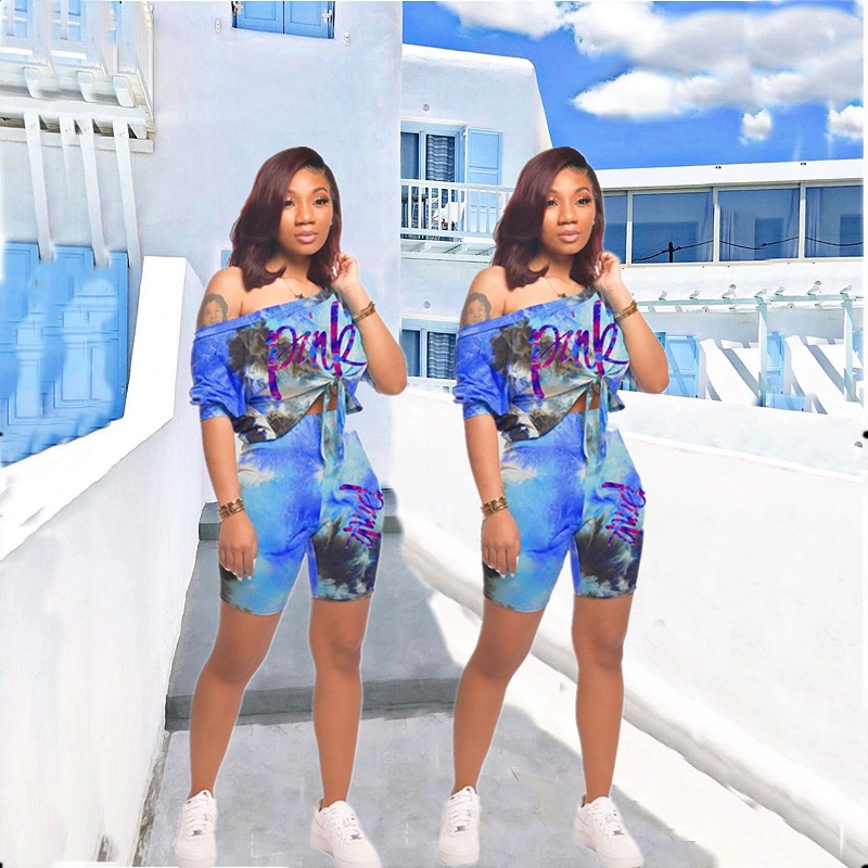 2020 New Summer Tie Dye Pink Letter Print Two Piece Set Women Shorts Suit Set T-shirt+ Biker Shorts 2 Pieces Shorts Sets