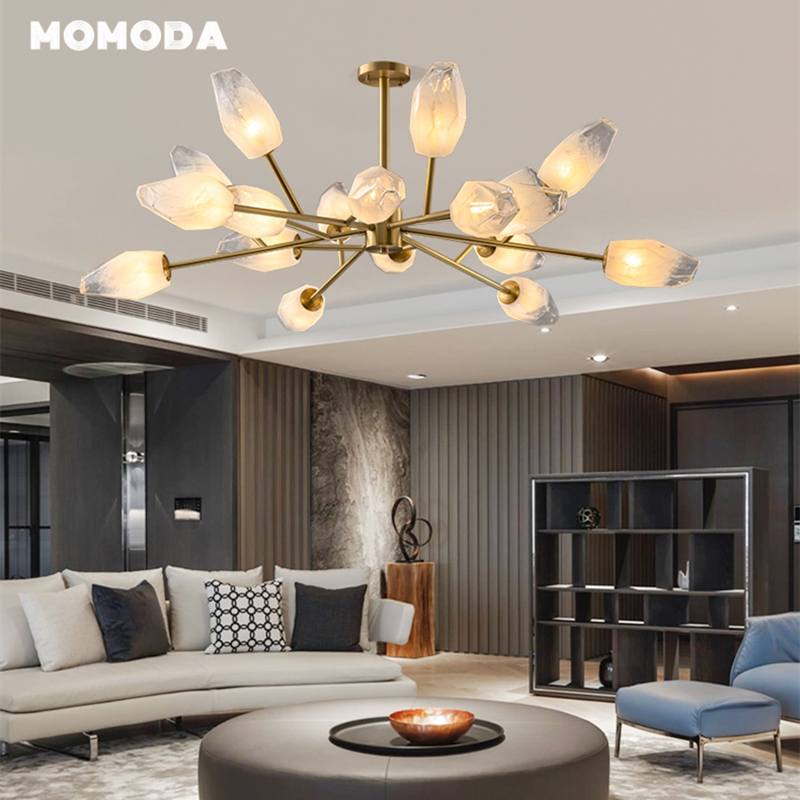 Modern LED Chandeliers Lighting Luxury Glass Brass Flower Indoor Lights Kitchen Bedroom Living Room Dining Room Lamp Lustre