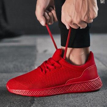 Damyuan scarpe da uomo Sneakers rosse traspiranti per uomo scarpe da corsa nere da uomo morbide scarpe sportive da uomo all'aperto comode Plus 48 1