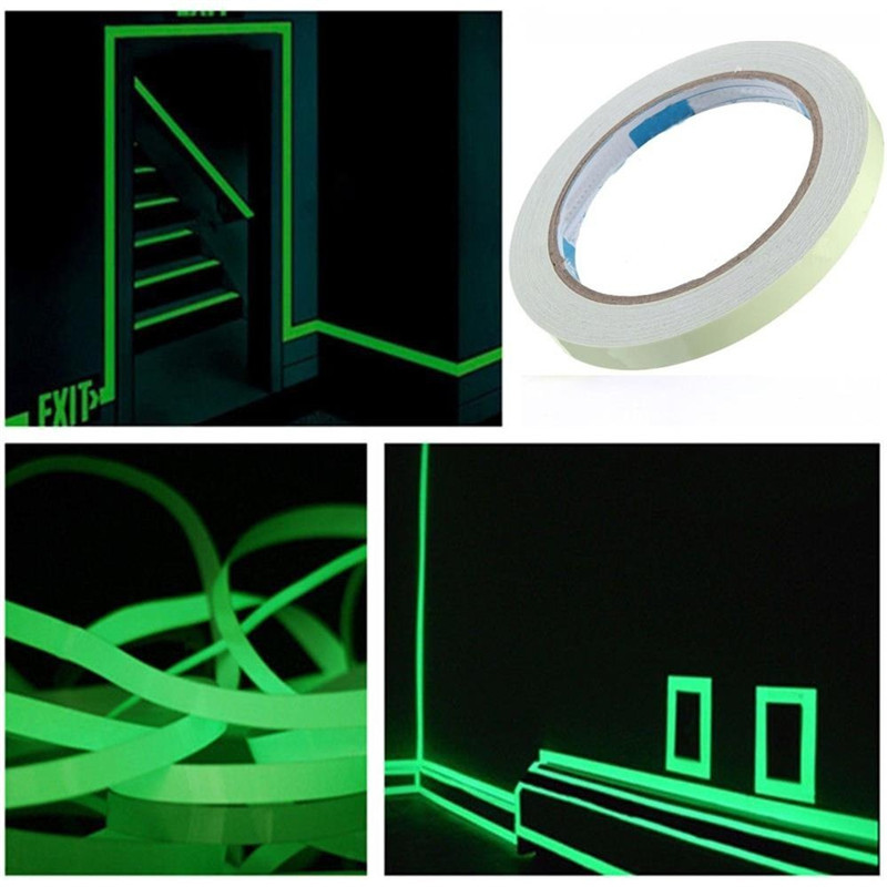 1 Roll Luminous Tape Self Adhesive PET Warning Tape Night Vision Glow In Dark Night Vision Fluorescent Emergency Wall Sticker