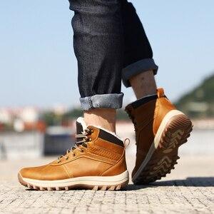 Image 4 - QGK zimowe ciepłe męskie buty z prawdziwej skóry futro Plus size mężczyźni śnieg buty Handmade wodoodporna pracy kostki buty wysokiej góry męskie buty
