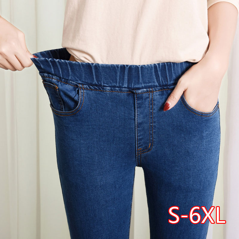Jeans Woman High Waist Plus Size Skinny Black Blue Pocket Mom Jeans Denim Pencil Pant 6XL