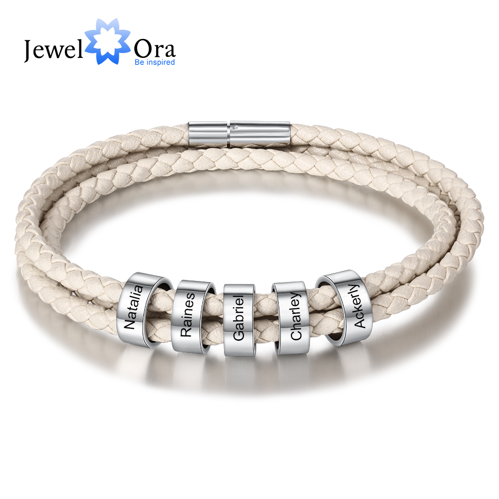 Personalized Custom Engraved Bracelet With 5 Name Beads Stainless Steel Unisex Multicolored Leather Bracelets For Women / Men