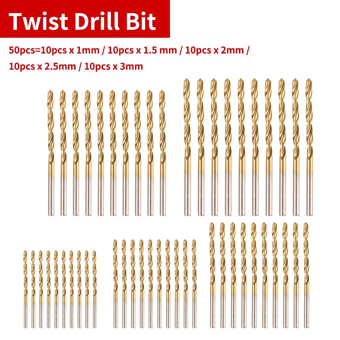 Power Drilling Tools 1mm/1.5mm/2mm/2.5mm/3mm 50pcs HSS Titanium Coated Drill Bit For Angle Iron/Wood/Plastic/Aluminum