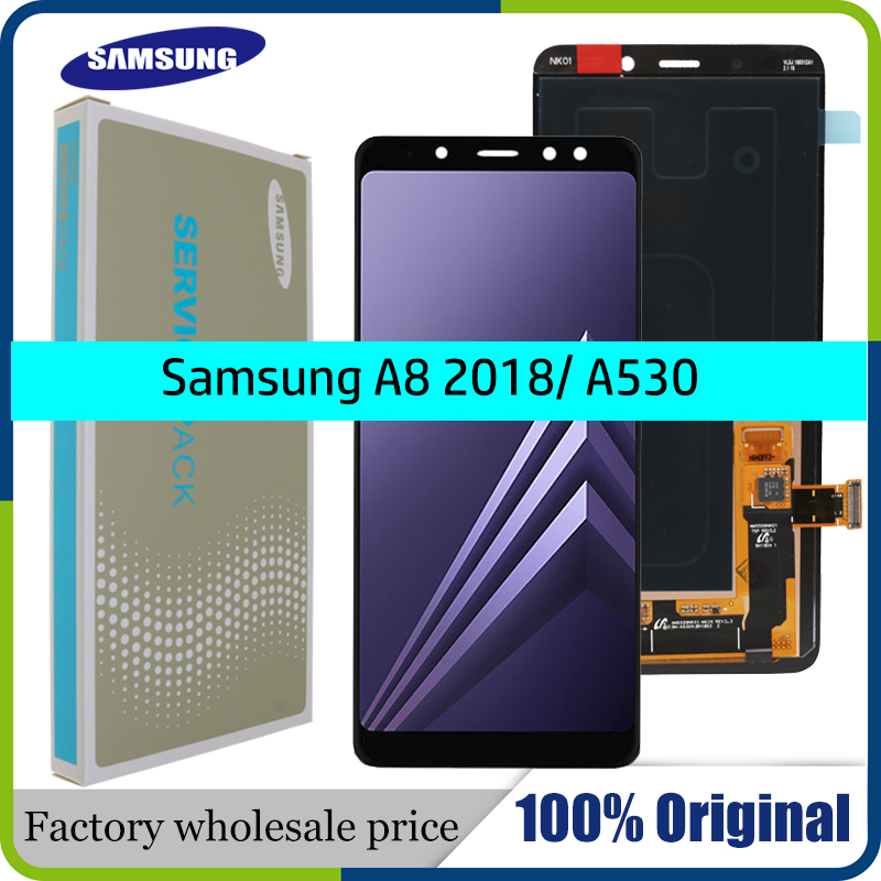 100% ORIGINAL AMOLED 5.6'' Display LCD for SAMSUNG Galaxy A8 2018 LCD A530 LCD Touch Digitizer Assembly Brightness adjusted-in Mobile Phone LCD Screens from Cellphones & Telecommunications