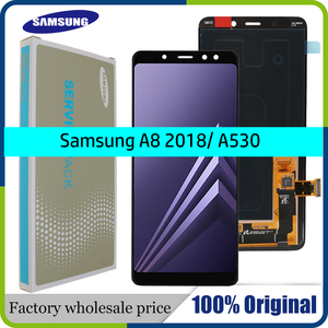 100% ORIGINAL AMOLED 5.6'' Display LCD for SAMSUNG Galaxy A8 2018 LCD A530 LCD Touch Digitizer Assembly Brightness adjusted(China)