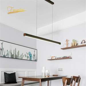 Image 3 - Modern Fish Line Long Wood LED Pendant Lamp Bar Restaurant LED Office Lamp Study Art Pendant Lights Lighting Hanging Lamp Lustre