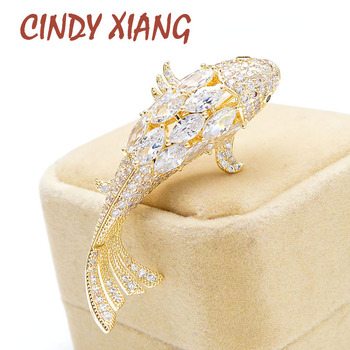 CINDY XIANG new arrival cubic zirconia fish brooches for women animal fashion jewelry zircon copper pin shining accessories cindy xiang colorful cubic zirconia daisy brooches for women sunflower brooch pin copper jewelry zircon corsage high quality