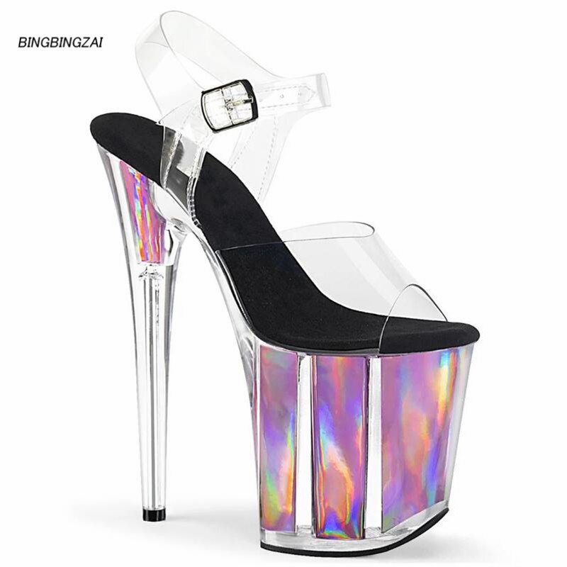 BBZAI New pattern Superior quality Super high heel ladies shoes 20CM Crystal Thin Heels Sandals shoes Waterproof 10CM 34-45 46