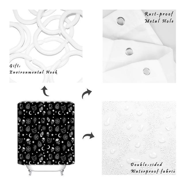 Cortina de ducha de calavera negra de Halloween, cortina de baño de calavera y gato, cortinas impermeables, decoración de baño de poliéster