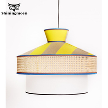 Chinese Classical Fabric Led Pendant Lights Wooden Loft Living Room Dining Light Pendant Lamp Bar Cafe Shop Hanglamp  Luminaria