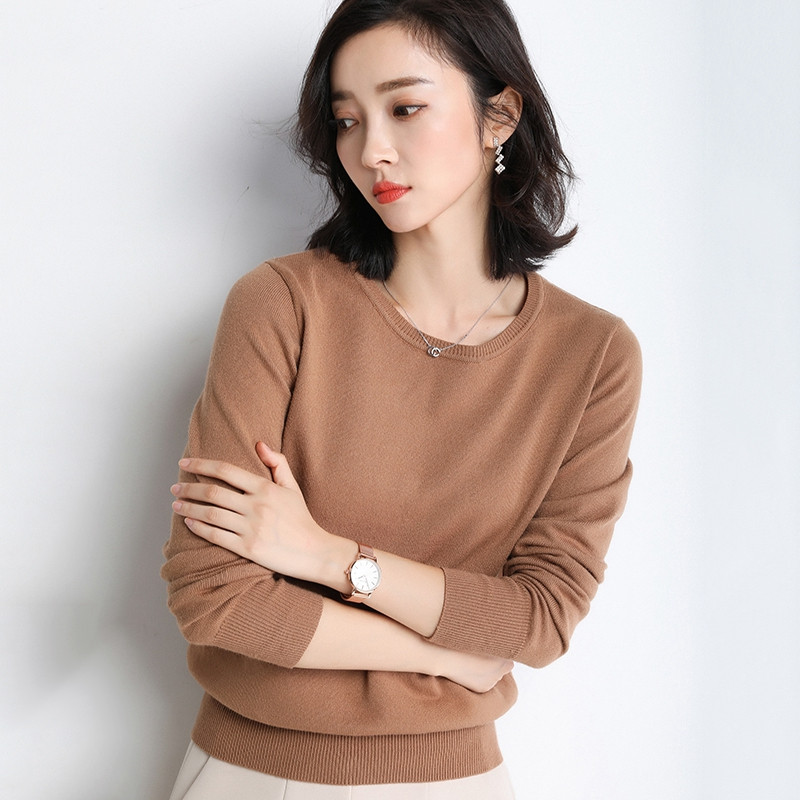 Autumn Women Sweater Pullover New Solid O-neck Long-sleeved Soft Cashmere Sweater Large Size Knit Bottoming Shirt Female Tops