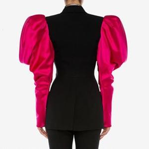 Image 2 - Chicever retalhos hit cor blazer feminino entalhado pétala manga túnica plus tamanho feminino blazers 2020 outono moda novas roupas
