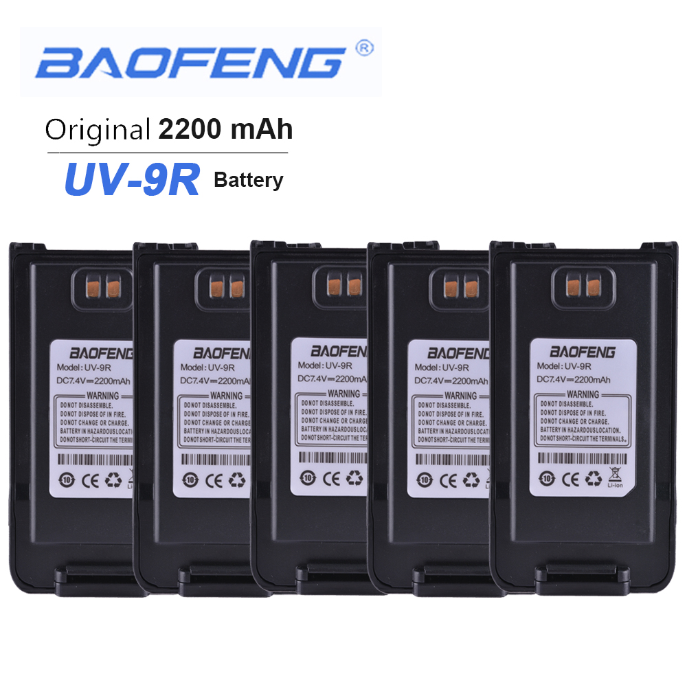 5PCS New Orignial Baofeng UV-9R Walkie Talkie Battery 7.4V 2200 MAh For Baofeng UV9R Anysecu Two Way Radio Phone Accessories