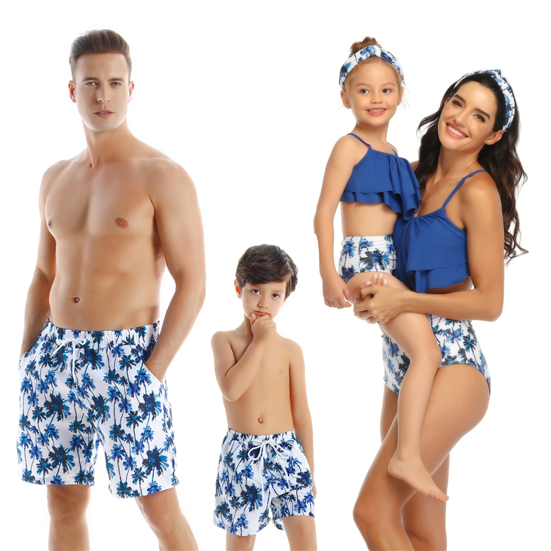 beach family swimwear ruffled mother daughter bikini swimsuits mommy dad and me matching clothes look father son swimming trunks|Matching Family Outfits| |  - title=