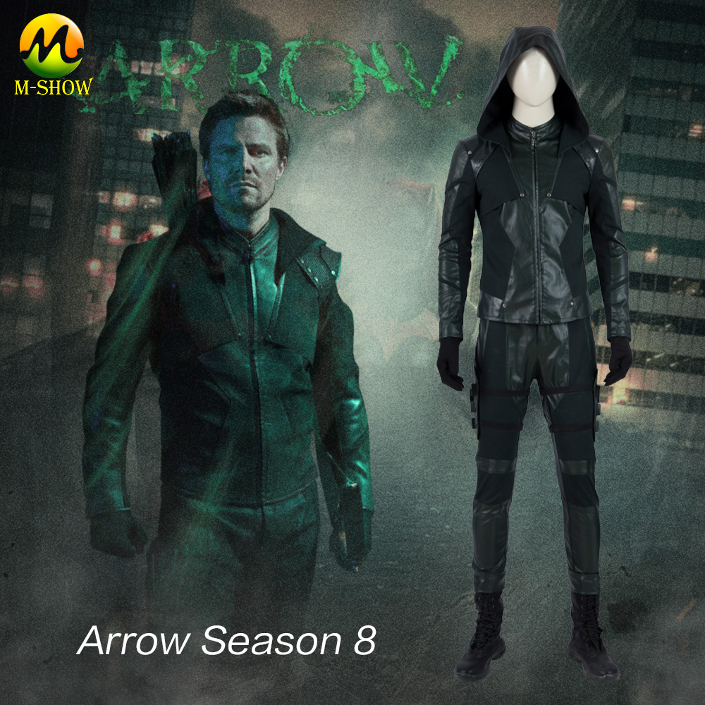 Green Arrow Final Season Cosplay Costume Superhero Oliver Queen Cosplay Green Suit Halloween Costume For Adult Men Custom Made