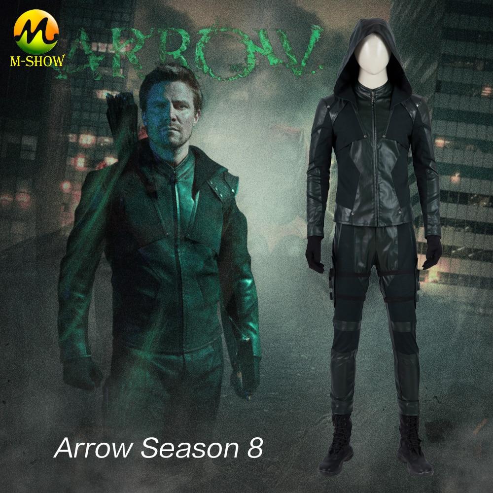 Green Arrow Final Season Cosplay Costume Superhero Oliver Queen Cosplay Green Suit Halloween Costume For Adult Men Custom Made