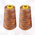 2Pcs Regenbogen Polyester Nähgarn Farbverlauf Stickerei Nähgarn für Nähen Hand Nähmaschine Nähen (Bunte,