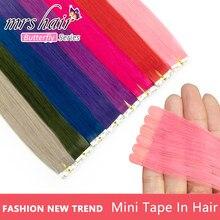 MRSHAIR – Extensions de cheveux naturels non remy, couleur arc-en-ciel, Mini bande adhésive, sans couture, 2g/pièce