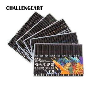 Image 1 - فرشاة ألوان مائية قلم علامات مجموعة لرسم الخط الكتابة على الجدران رسم قلم تحديد حروف القلم 48 60 72 100 Colors
