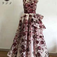 New Arrival Burgundy V Neck Lace Short Sleeve Tea Length Lace Prom Dres