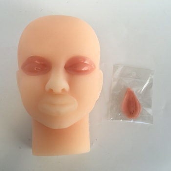 silicone skin suture face model micro-shaping study guide use double eyelid suture practice silicone head model