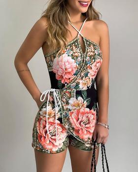 цена на Women Summer Fashion Elegant Floral Print Casual V Neck Sleeveless Short Romper Halter Floral Print Casual Romper