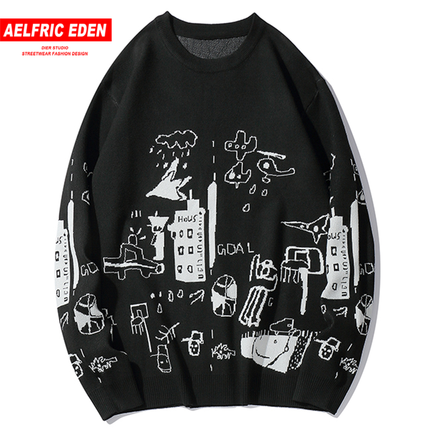 Aelfric Eden Hip Hop Comic Graffiti Knitwear Mens Sweaters 2019 Harajuku Fashion Male Oversized  Tops Casual Streetwear Pullover