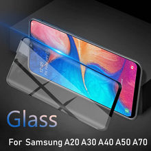 tempered glass on the for samsung galaxy a20 a30 a50 armor For Samsung a40 a70 30a a 30 20 50 tremp 50a protective film safety(China)
