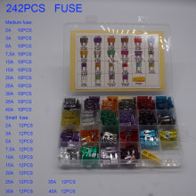 242PCS Car Fuses 2A 3A 5A 7.5A 10A 15A 20A 25A 30A 35A 40A Amp with Box Clip Assortment Auto Blade Type Fuse Set Truck