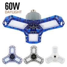 60w/40w led luzes de garagem 360 graus deformable luz de teto luminária de luz de dia para oficina armazém dobrável lâmpada de três folhas