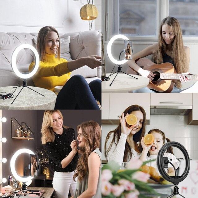 Купить кольцевой светильник для селфи с треногой 10 дюймов приглушаемый картинки цена