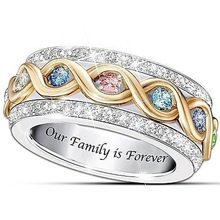 Female Finger Rings Multicolor Crystal Zircon Stone Gold Color with Silver Filled Jewelry Wedding Promise for Women
