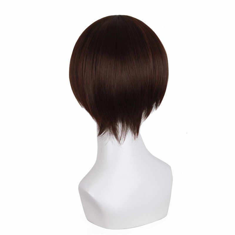 """MapofBeauty 10 """"pelucas cortas rectas negras oscuras de color marrón oscuro Cosplay para mujeres pelo sintético resistente al calor hombres falso"""