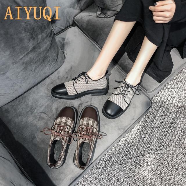 Купить женские туфли в британском стиле aiyuqi весенние ретро на шнуровке