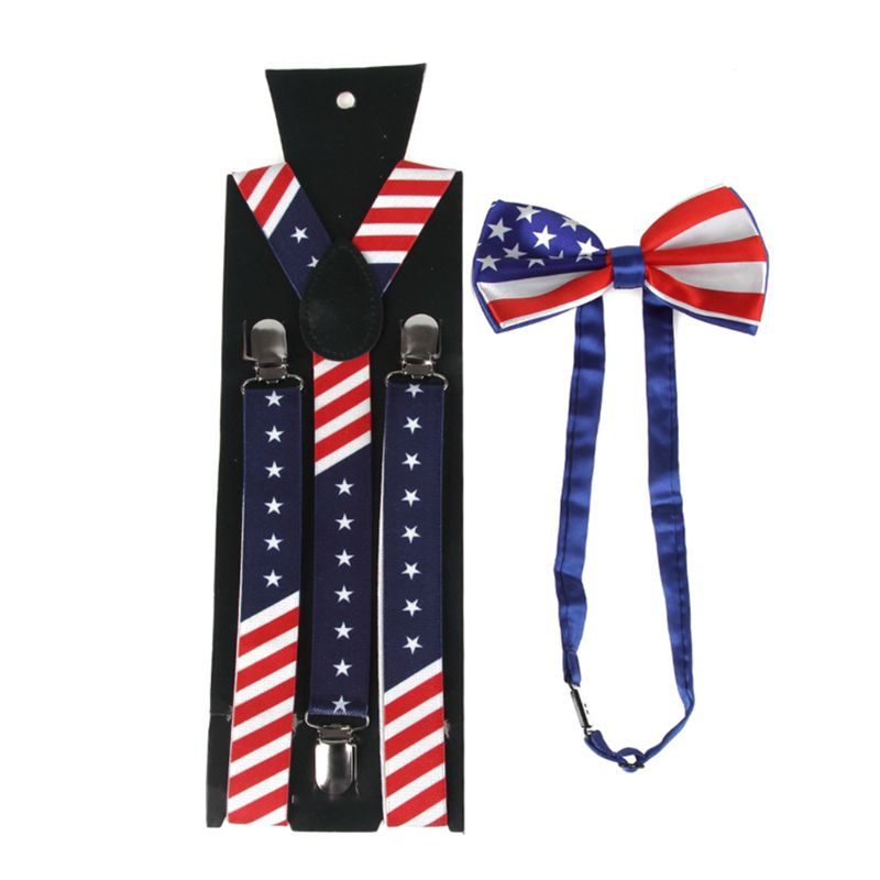 Men Women American US Flag Y-Back Suspender Pre-Tied Bow Tie Set Star Striped Print Wide Elastic Belt July 4th Party Costume
