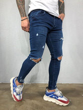 Spring Men Skinny Knee Hole Ripped Jeans Stretch Slim Pencil Pants Denim Pants Solid Color High Street Style Man Trousers Biker