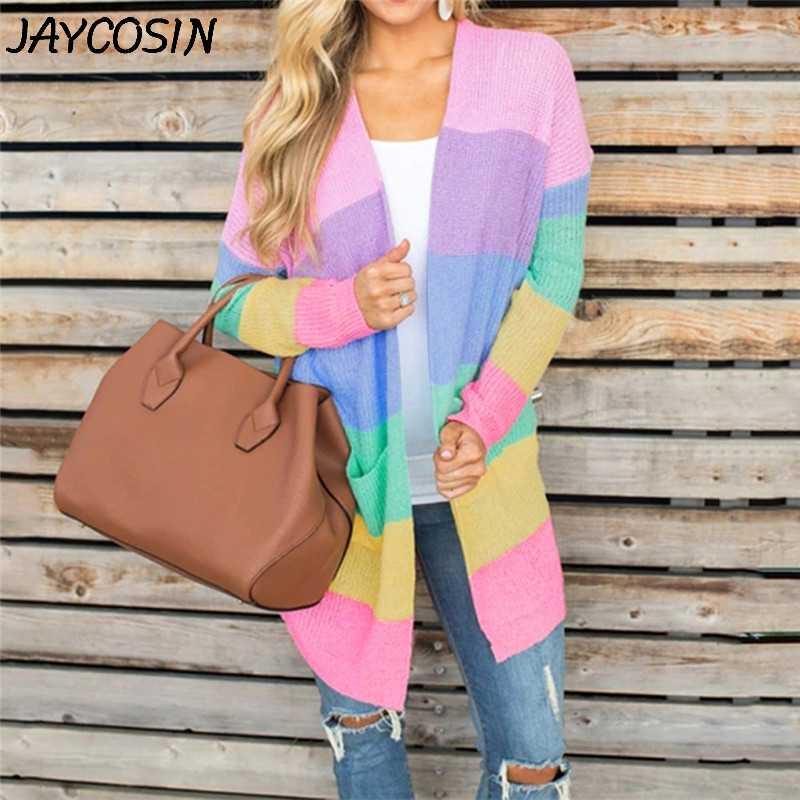 JAYCOSIN 여성 스웨터 레인보우 스트라이프 패치 워크 오픈 전면 긴 소매 니트 카디 건 스웨터 아웃웨어 포켓 스웨터 코트 a9