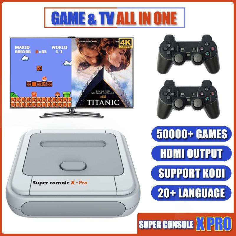 SUPER consola X PRO de vídeo de las consolas de juego emulador apoyo KODI WIFI consola Retro construido en 50000 + juegos para PSP PS1 N64 salida de TV