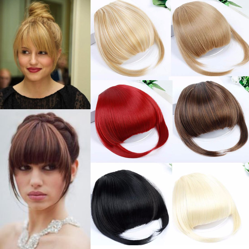 AOOSOO  Natural Blunt Bangs Clip-In Dark Light Brown Black Synthetic False Hair Fringe Pure Colors  Flat Bang Hair Pieces