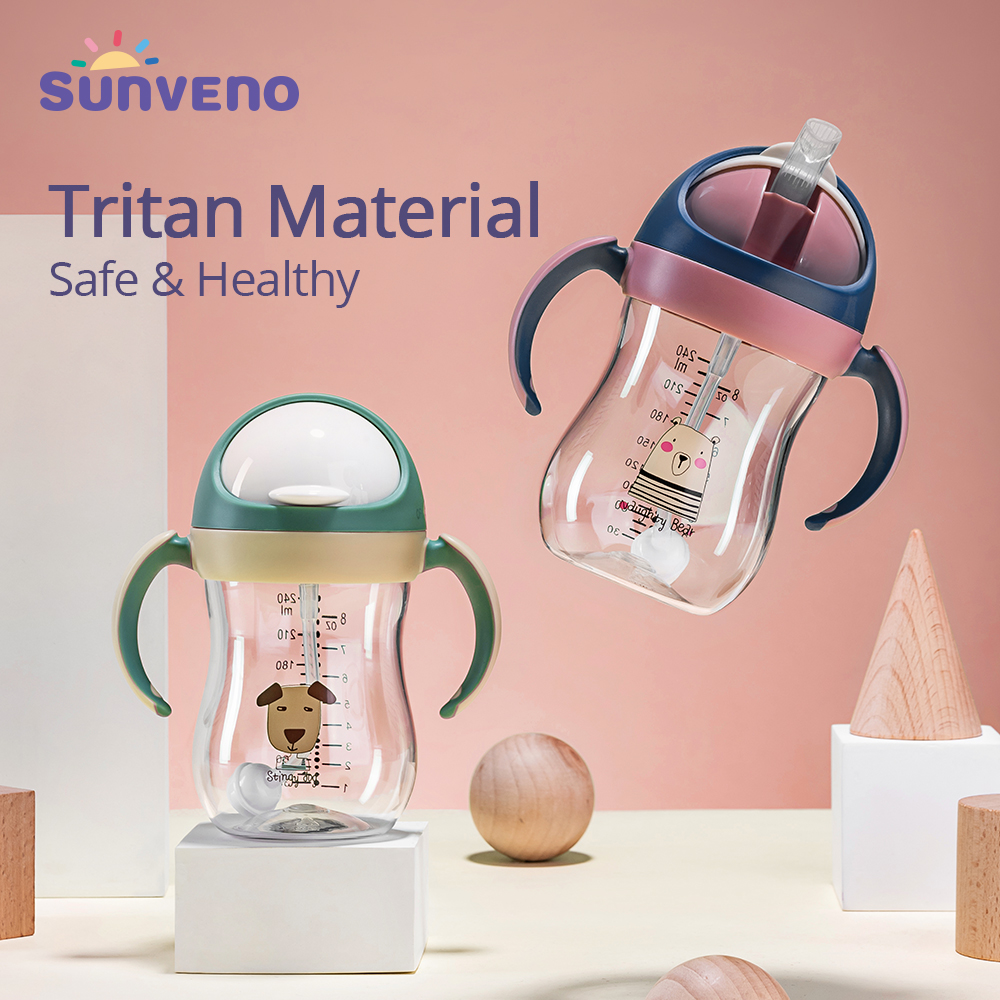 Sunveno Baby Water Bottle Sippy Cup Soft Spout Cup Gravity Ball V-Type Straw Anti Choked Design For Baby 6-24M