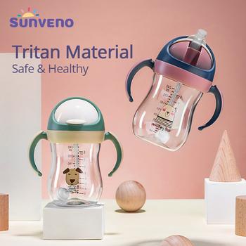 Sunveno butelka na wodę dla dziecka kubek niekapek miękka kubki z dziubkiem Gravity Ball v-type słoma Anti Choked Design dla dziecka 6-24M tanie i dobre opinie 300 ml tritan Drinkware Dzieci YP5963 Cartoon