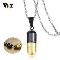 Vnox Can Open Cremation Pill Pendants For Women Men Cross Urn Keepsake Stainless Steel Necklace Casual Jewelry Pets Memory