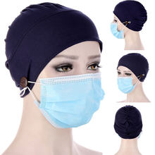 Bonnet à boutons de couleur unie pour femmes, foulard de haute qualité, Turban musulman, couvre-tête, Hijabs, chapeau tendance