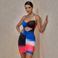 XAKALAKA Multicolours Dresses For Women 2020 Sexy Halter Ruched Mini Bodycon Dress Hollow Out Celebrity Club Party Dress Evening 1
